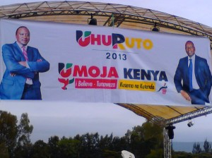 TNA presidential aspirant Uhuru Kenyatta and William Ruto banners in Nakuru town ahead of the launch of the coalition at Afraha stadium.