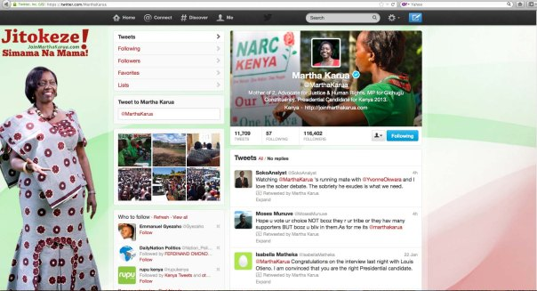 Screen shot of Martha Karua Twitter handle