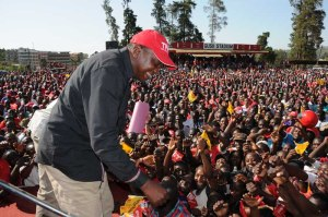 Jubilee Alliance presidential candidate Uhuru Kenyatta during a rally  in Kisii on Tuesday Photo/UKpress
