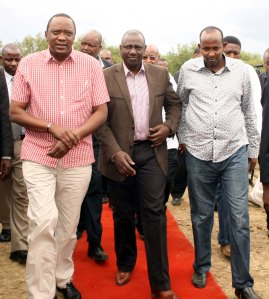 Walking on the grass: President Elect Uhuru Kenyatta and Deputy President Elect William Ruto arrive at the venue of the Jubilee coalition retreat at the Great Rift Valley Lodge and Golf Resort Photo/PPS