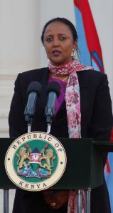 Cabinet Secretary nominee for Foreign Affairs Amina Mohamed at State House yesterday Photo PPS