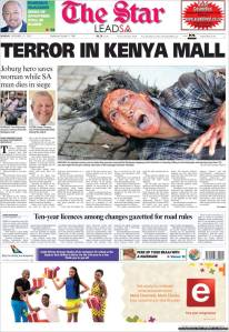 The Star of South Africa front page photo of Westgate attack.