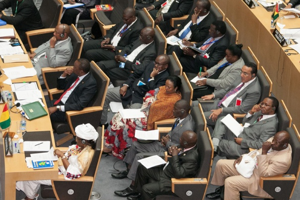 President Uhuru Kenyatta and part of the Kenyan delegation at the AU extraordinary session follow proceedings at the African Union Center in Addis Ababa, Ethiopia.Photo/PSCU