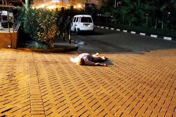 A man lies dead at the Westgate Mall after the terror attack on Saturday September 21,2013.Photo/Charles Kimani