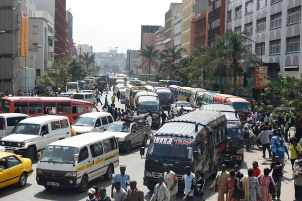 Kenyan Passenger Service Vehicles commonly known as matatu in downtown Nairobi