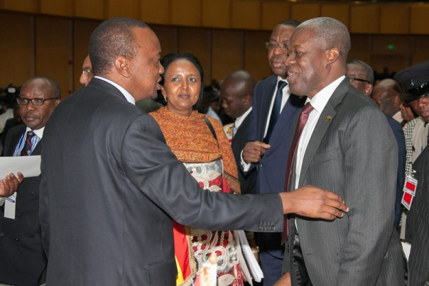 President Uhuru Kenyatta with The Vice-President Ghana, Mr Kwesi Bekoe Amissah-Arthur after the closing ceremony of the AU extraordinary summit in Addis Ababa, Ethiopia. Looking on is the Cabinet Secretary for Foreign Affairs, Amina Mohamed.Photo/PSCU