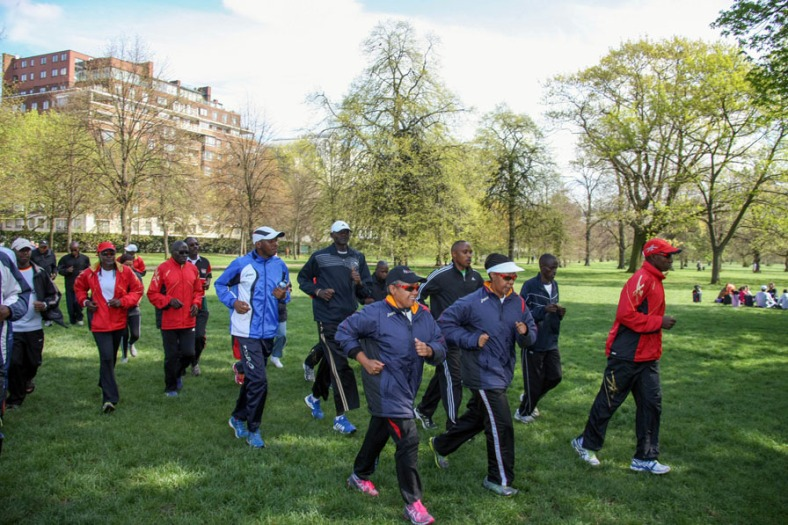 First Lady Margaret Kenyatta and her marathon team enjoy a sunny mid-morning run during their third day jog as the team becomes acclimatized at Royal Park, Kensington Gardens, ahead of the Virgin Money London Marathon to be held on Sunday.Photo/PSCU